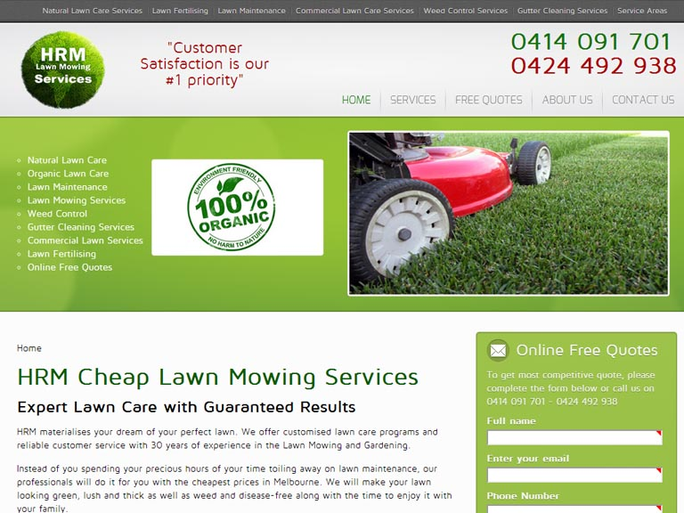 HRMLAWNMOWING.com.au- Designed By Dandy Small Business Web Design