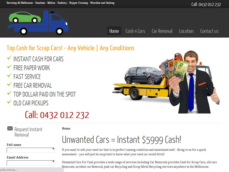 unwantedcashforcash.com.au- Designed By Dandy Small Business Web Design